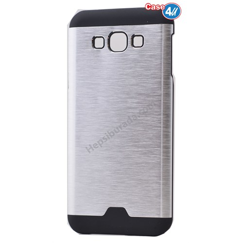 Case 4U Samsung Galaxy J5 Moto Sert Arka Kapak Gümüş