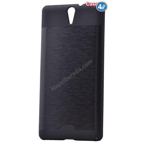Case 4U Sony Xperia C5 Ultra Moto Sert Arka Kapak Siyah