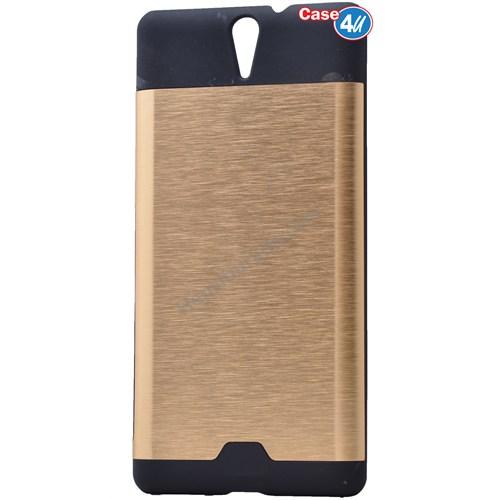Case 4U Sony Xperia C5 Ultra Moto Sert Arka Kapak Altın
