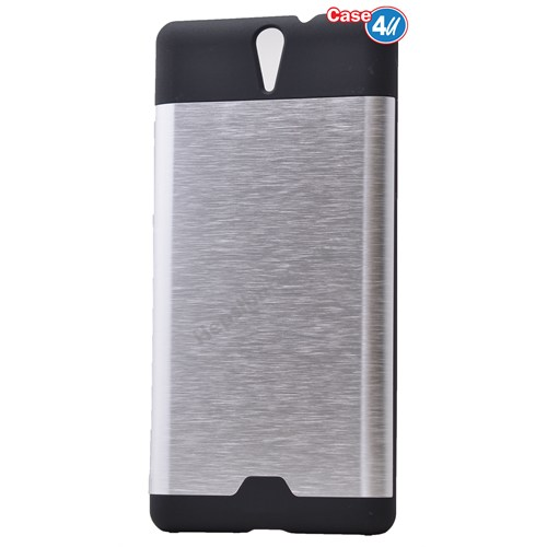 Case 4U Sony Xperia C5 Ultra Moto Sert Arka Kapak Gümüş