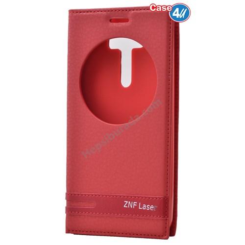"""Case 4U Asus Zenfone 2 Laser 5"""" Ze500kl Pencereli Kapaklı Kılıf Kırmızı"""