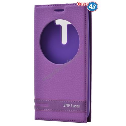 """Case 4U Asus Zenfone 2 Laser 5"""" Ze500kl Pencereli Kapaklı Kılıf Mor"""