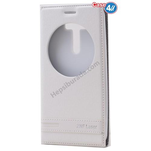 """Case 4U Asus Zenfone 2 Laser 5"""" Ze500kl Pencereli Kapaklı Kılıf Beyaz"""