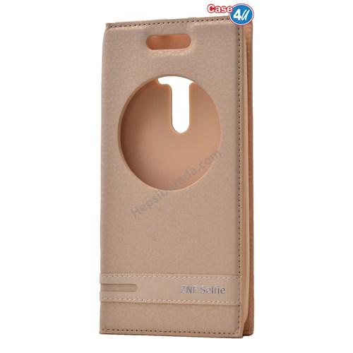 Case 4U Asus Zenfone Selfie Pencereli Kapaklı Kılıf Altın