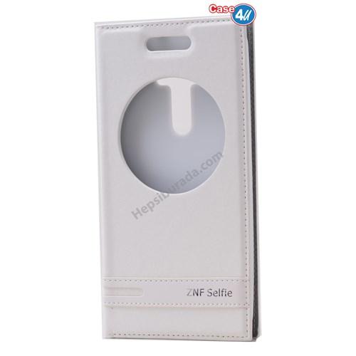 Case 4U Asus Zenfone Selfie Pencereli Kapaklı Kılıf Beyaz