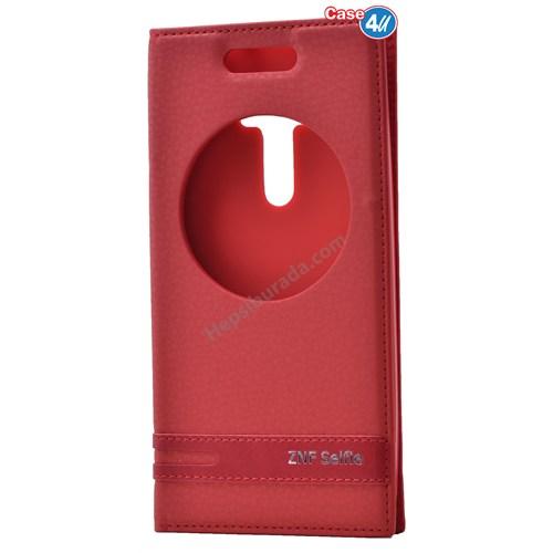 Case 4U Asus Zenfone Selfie Pencereli Kapaklı Kılıf Kırmızı
