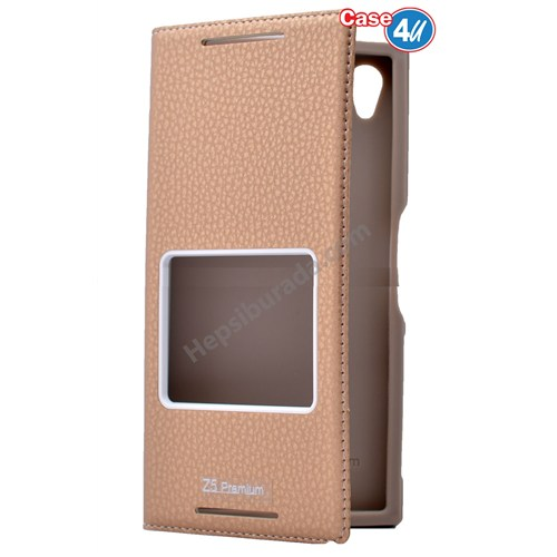 Case 4U Sony Xperia Z5 Premium Pencereli Kapaklı Kılıf Altın