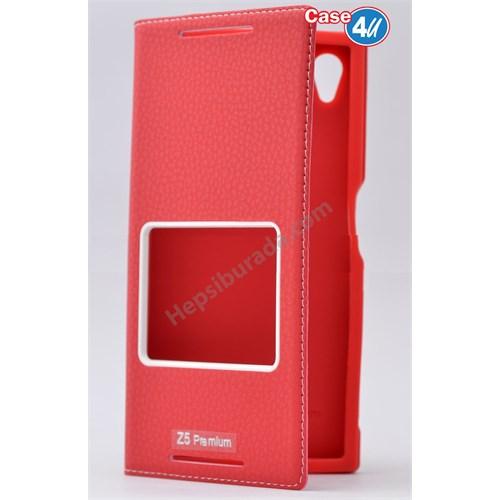 Case 4U Sony Xperia Z5 Premium Pencereli Kapaklı Kılıf Kırmızı