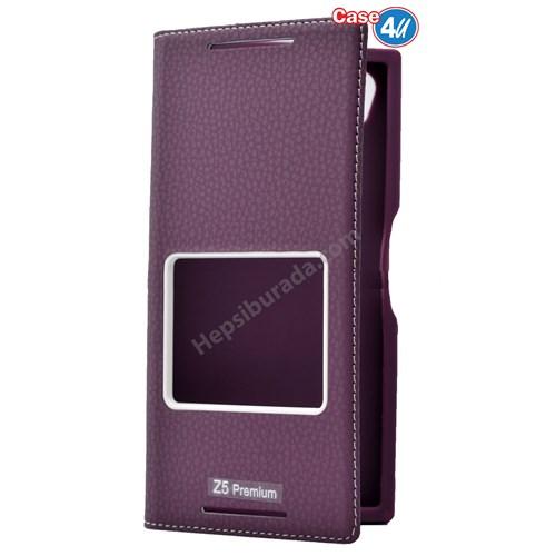 Case 4U Sony Xperia Z5 Premium Pencereli Kapaklı Kılıf Mor