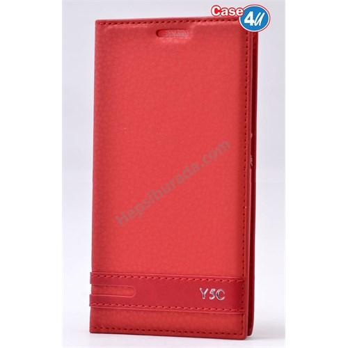Case 4U Huawei Y5c Gizli Mıknatıslı Kapaklı Kılıf Kırmızı