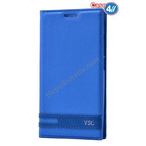 Case 4U Huawei Y5c Gizli Mıknatıslı Kapaklı Kılıf Mavi