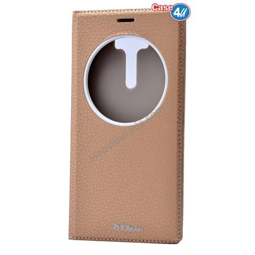 Case 4U Asus Zenfone 2 Laser Ze601kl Pencereli Kapaklı Kılıf Altın