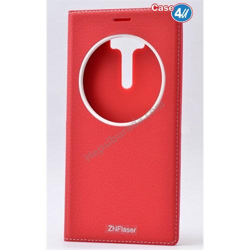 Case 4U Asus Zenfone 2 Laser Ze601kl Pencereli Kapaklı Kılıf Kırmızı