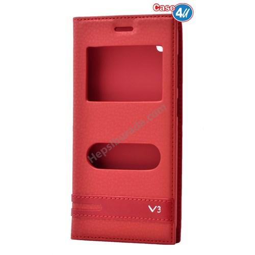 Case 4U Vestel Venus V3 5570 Pencereli Kapaklı Kılıf Kırmızı