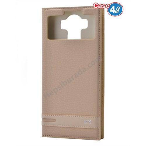 Case 4U LG V10 Pencereli Mıknatıslı Kapaklı Kılıf Altın