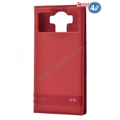 Case 4U LG V10 Pencereli Mıknatıslı Kapaklı Kılıf Kırmızı