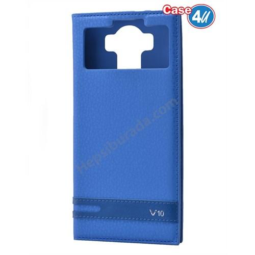 Case 4U LG V10 Pencereli Mıknatıslı Kapaklı Kılıf Mavi