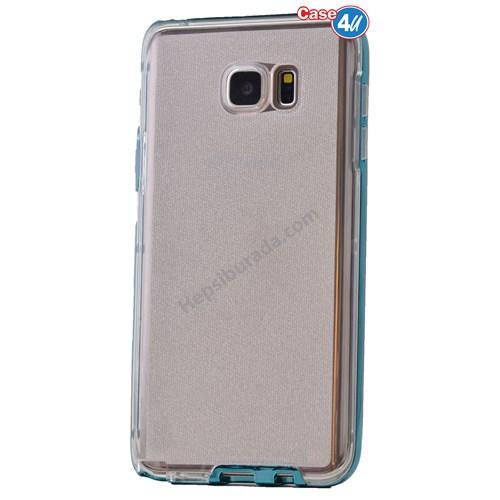 Case 4U Samsung Galaxy Note 5 Çerçeveli Silikon Kılıf Mavi