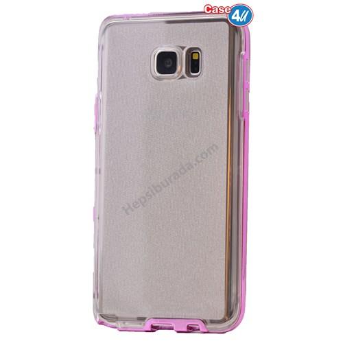 Case 4U Samsung Galaxy Note 5 Çerçeveli Silikon Kılıf Pembe