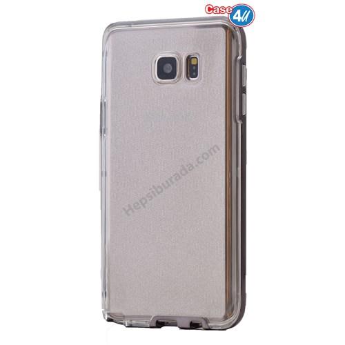 Case 4U Samsung Galaxy Note 5 Çerçeveli Silikon Kılıf Siyah