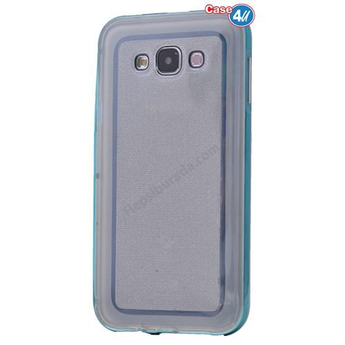 Case 4U Samsung Galaxy A7 Çerçeveli Silikon Kılıf Mavi