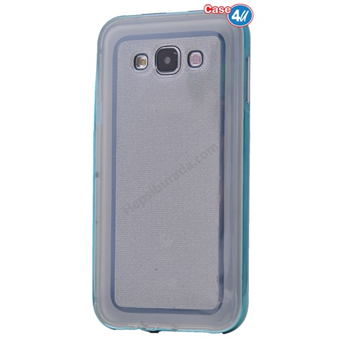 Case 4U Samsung Galaxy Grand 2 Çerçeveli Silikon Kılıf Mavi