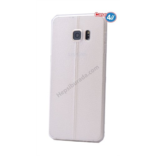 Case 4U Samsung Galaxy S6 Edge Plus Parlak Desenli Silikon Kılıf Beyaz