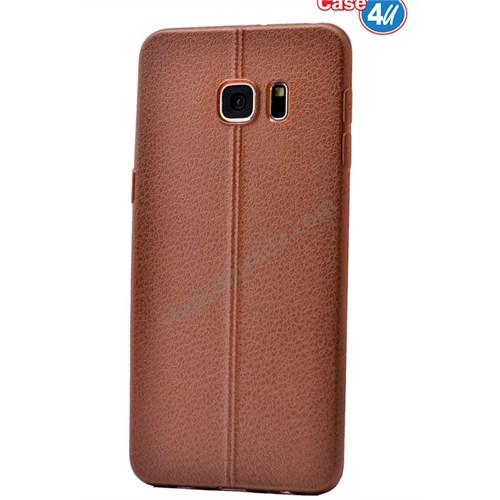 Case 4U Samsung Galaxy S6 Edge Plus Parlak Desenli Silikon Kılıf Kahverengi