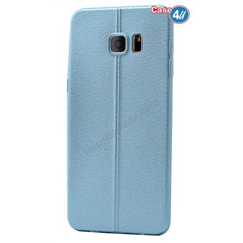 Case 4U Samsung Galaxy S6 Edge Plus Parlak Desenli Silikon Kılıf Mavi