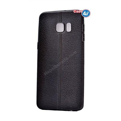 Case 4U Samsung Galaxy S6 Edge Parlak Desenli Silikon Kılıf Siyah
