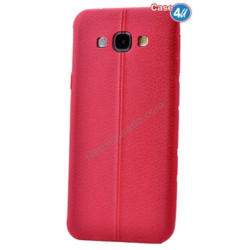 Case 4U Samsung E5 Parlak Desenli Silikon Kılıf Kırmızı