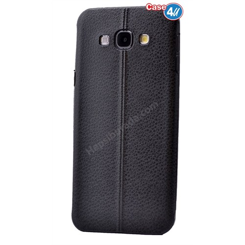 Case 4U Samsung E5 Parlak Desenli Silikon Kılıf Siyah