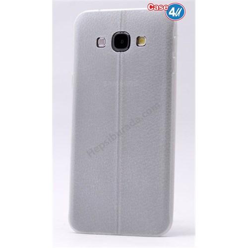 Case 4U Samsung E7 Parlak Desenli Silikon Kılıf Beyaz