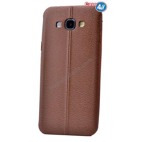 Case 4U Samsung E7 Parlak Desenli Silikon Kılıf Kahverengi