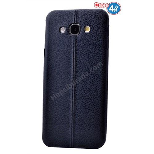 Case 4U Samsung E7 Parlak Desenli Silikon Kılıf Lacivert