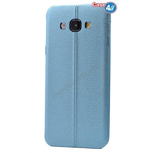 Case 4U Samsung E7 Parlak Desenli Silikon Kılıf Mavi