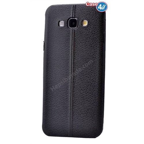 Case 4U Samsung E7 Parlak Desenli Silikon Kılıf Siyah