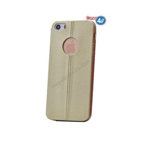 Case 4U Apple İphone 5S Parlak Desenli Silikon Kılıf Altın
