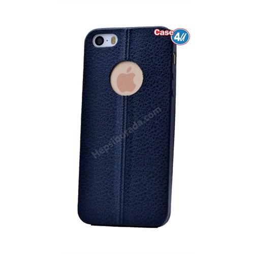 Case 4U Apple İphone 5S Parlak Desenli Silikon Kılıf Lacivert
