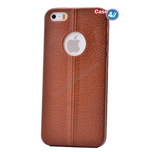 Case 4U Apple İphone 5 Parlak Desenli Silikon Kılıf Kahverengi