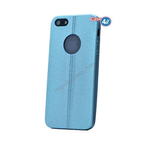 Case 4U Apple İphone 5 Parlak Desenli Silikon Kılıf Mavi