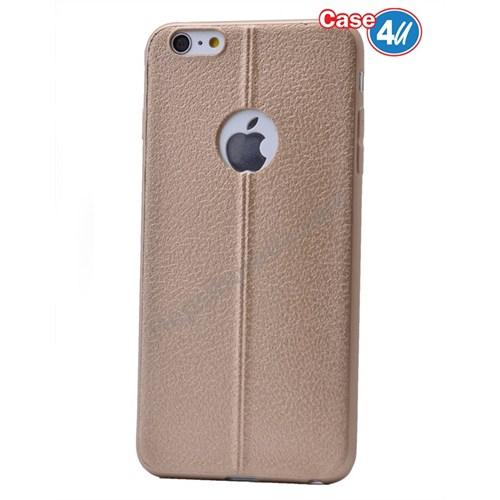 Case 4U Apple İphone 6 Parlak Desenli Silikon Kılıf Altın
