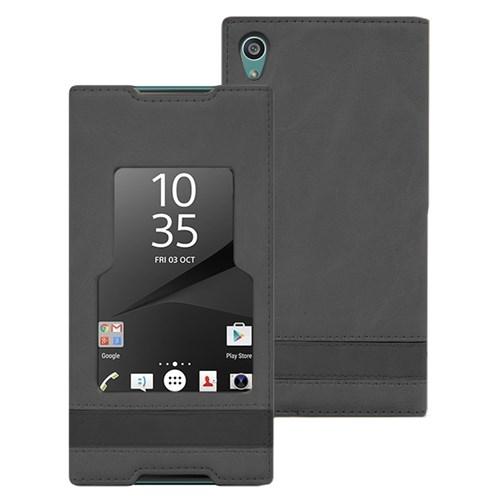 Microsonic Sony Xperia Z5 Kılıf Gizli Mıknatıslı View Delux Siyah