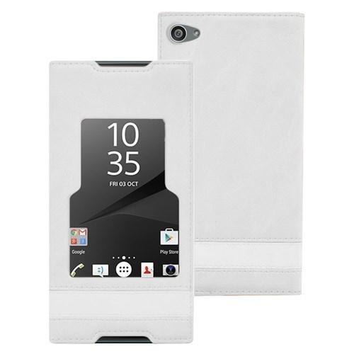 Microsonic Sony Xperia Z5 Compact (Z5 Mini) Kılıf Gizli Mıknatıslı View Delux Beyaz