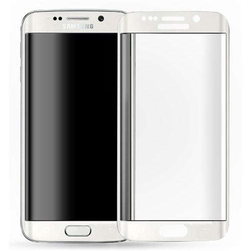 Microsonic Samsung Galaxy S6 Edge+ Plus 3D Kavisli Temperli Cam Ekran Koruyucu Kırılmaz Film Beyaz