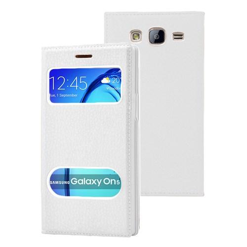 Microsonic Samsung Galaxy On5 Kılıf Dual View Gizli Mıknatıslı Beyaz
