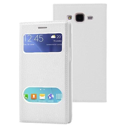 Microsonic Samsung Galaxy J7 Kılıf Dual View Gizli Mıknatıslı Beyaz