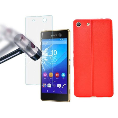 Ksp Sony Xperia M5 Kılıf Silikon Kırmızı + Kırılmaz Cam