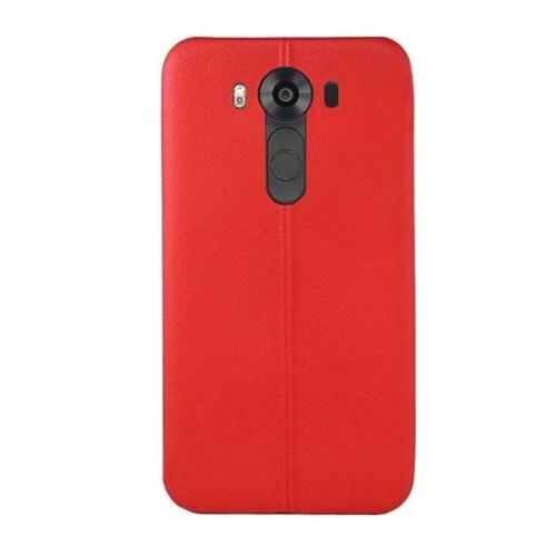 Ksp Lg V10 Silikon Kılıf Dikiş Desenli Kırmızı