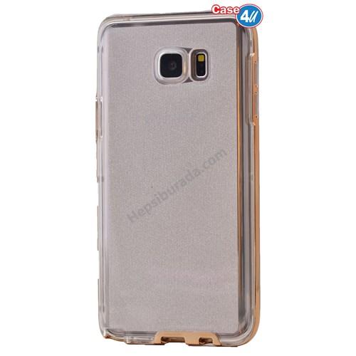Case 4U Samsung Galaxy S6 Edge Çerçeveli Silikon Kılıf Altın